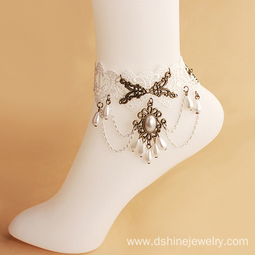 Wholesale Jewelry White Lace Anklet Bracelet With Drop Pearl